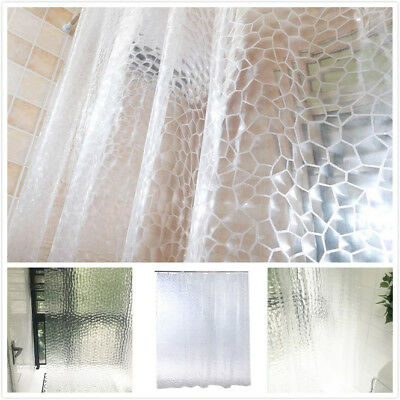 180*200cm 3D Thicker Clear PEVA Bath Bathtub Shower Curtain Water Cube+ 12 Hooks