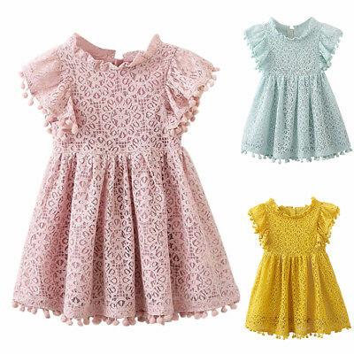 Fashion Kid Baby Girls Floral Print Sleeveles Lace Princess Hollow Dress Clothes