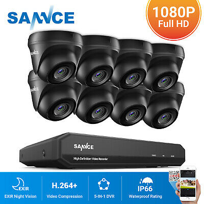 SANNCE 1080P HDMI 5in1 8CH DVR 1500TVL Outdoor CCTV Security Camera System 1TB