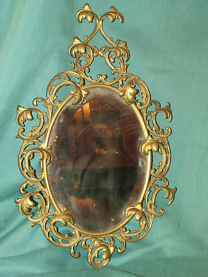 Antique Victorian Gilt Bronze Hanging Mirror or Picture Frame