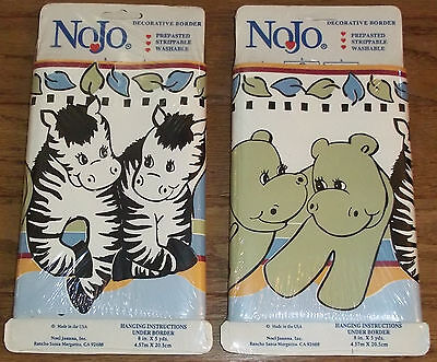 LOT OF ZOO WALLPAPER BORDER ~ NOJO JUNGLE ANIMALS Two By Two Light Blue Baby Boy