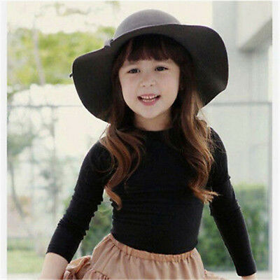 Lovely Girls Kids Children Woolen Straw Sun Hat Beach Wide Brim Cap