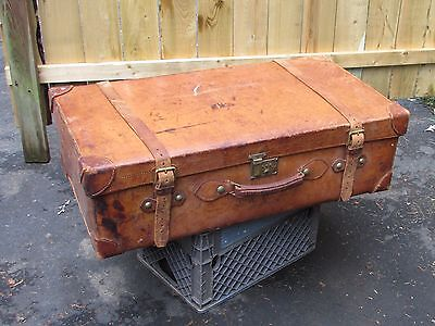 Large Antique Leather Suitcase or Trunk