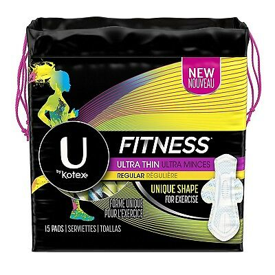 U by Kotex Fitness, Ultra Thin Pads with Wings Regular, 15 count