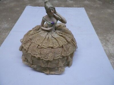Old Porcelain Half Doll 584-9 Sewing Pin Cushion with Lace Dress