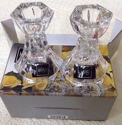 """Mikasa Linear Pair of Glass 3 1/2"""" Candleholders XY275/939"""
