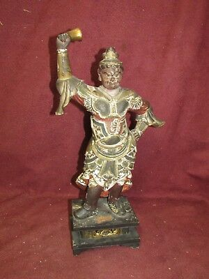Antique Japanese Wood Carving Sculpture Polychrome Decoration Male w Bell