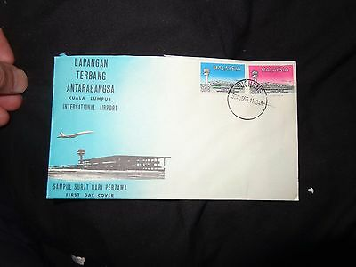 """1965 Malaysia """"Opening of Kuala Lumpur Airport"""" First Day Cover with leaflet"""