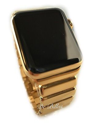 24K Gold 42MM Apple Watch 24K Gold plated DIAMOND polished Modern Gold Link Band