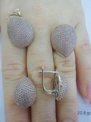 Sterling 925 Silver Jewelry Handmade Fabulous Micro-Pave Topaz Full Sets