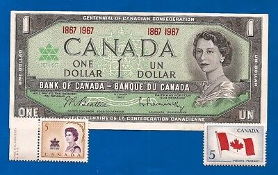 1967 CANADA 1 ONE DOLLAR BILL NOTE CRISP UNC + vintage Canadian stamps