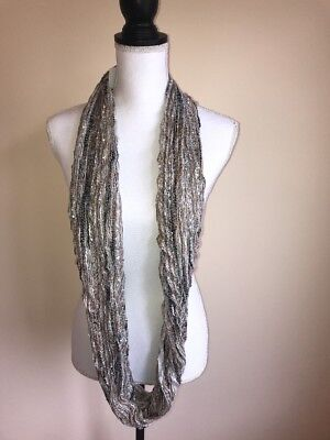 Women's Crochet Neutral Infinity Cowl Neck Scarf Knit Silver Lining Loop New