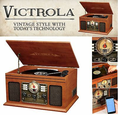 Bluetooth Turntable Retro Vintage Radio CD Cassette MP3 Record Player Vinyl LP