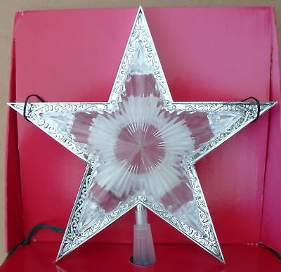 """10"""" Holiday Time Crystal Star Tree Topper Window Lighted Lit top ornament"""