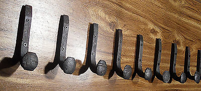 9 Antique Horse Tack Hooks Old Railroad Spikes Heavy Duty Stable Set Barn Hanger