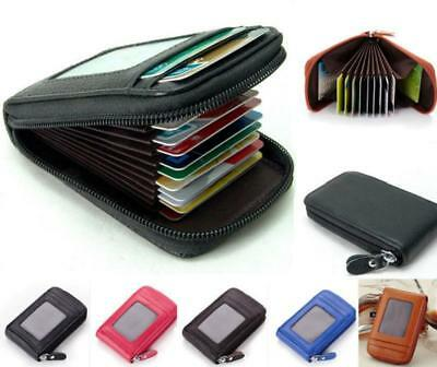 Mens Mini PU Leather Wallet ID Credit Card Zipper Holder Organizer Purse J