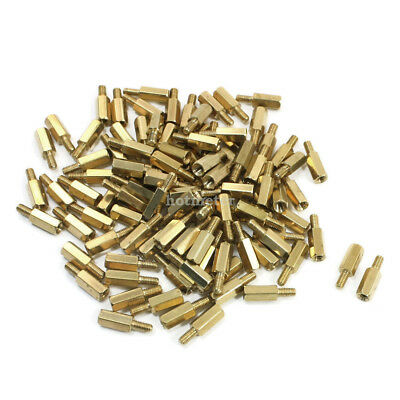 100Pcs M3x6mm Male to Female Thread Hex Standoff Hexagonal Spacer Gold Tone 10mm