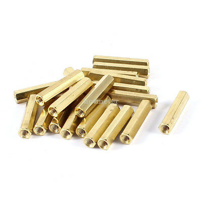 20 Pieces M4 x 30 M4 Female Thread PCB Brass Standoff Spacer 30mm High Gold Tone