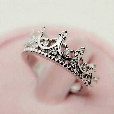 Hot Sale Princess Silver Plated Rhinestone Crown Ring US Size 5 6 7 8