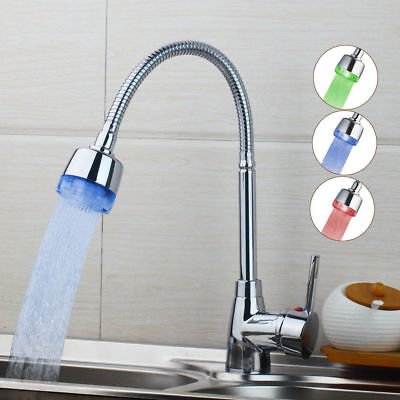 LED Kitchen Pull Out Spray Faucet Single Handle Mixer Tap Deck Mounted Chrome