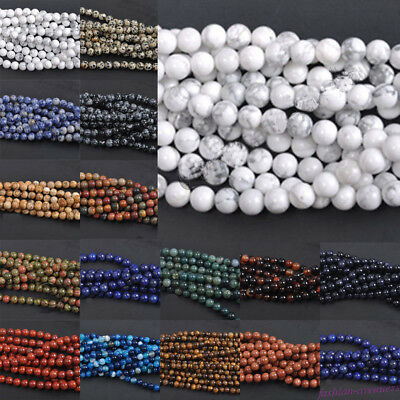 Wholesale 4/6/8/10/12mm Loose Stone Bead Strand Round Spacer Handicrafts Supply