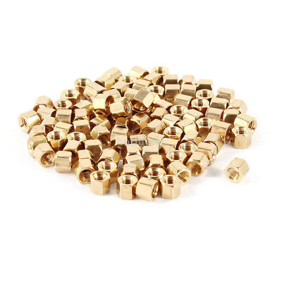 100 Pieces M3 Female Threaded PCB Brass Standoff Spacer 4mm High Gold Tone M3 x4