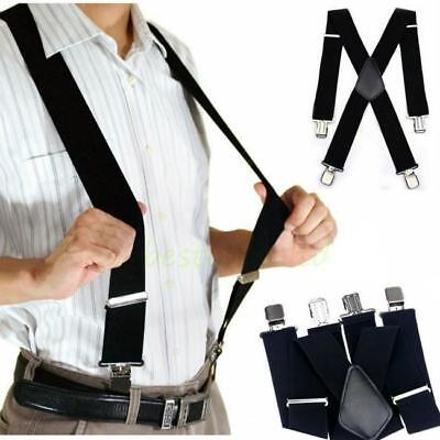 Mens Black X-Back Clip-on Suspenders Adjustable Elastic Retro Formal Braces J