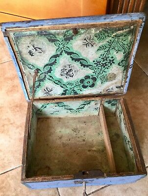 Antique 18th Century Primitive Wood Lock Box, Hand Forged Hinges
