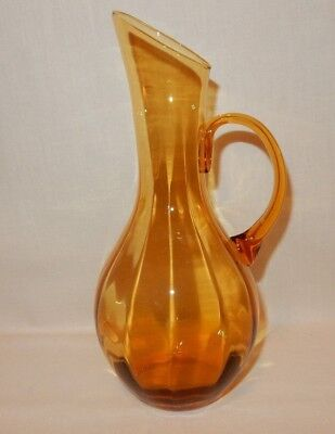 "Vintage Blenko Optic 24oz Amber Hand Blown Pitcher 9.5"" tall Mid Century Modern"
