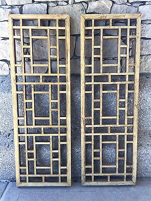 Pair of Chinese Antique Natural Wood Carving Panels