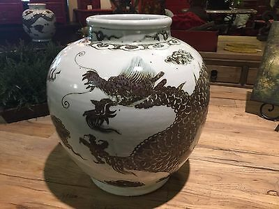 Vintage Large Heavy Brown And White Chinese Porcelain Dragon Jar Bowl