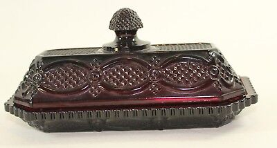 Avon Vintage Cape Cod Collection Ruby Red Glass Covered Butter Dish