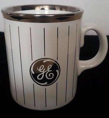 Vintage General Electric Silver Rimmed and Striped Coffee Mug Made in England