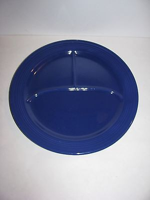 """Fiesta Dinner ware, Vintage, 12"""" Compartment Plate, Divided, Grill, Cobalt Blue"""