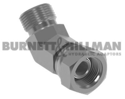 BSP Male x BSP Swivel Female O'Ring Seal 45° Forged Compact Elbow (Soft Seal)