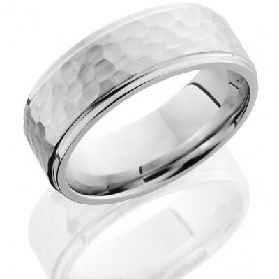 aCobalt Chrome 8mm Flat Band with Grooved Edges