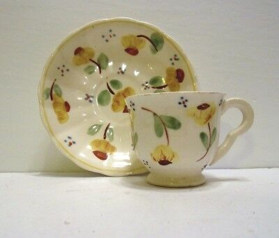 Vintage Small Cup And Saucer Set.....hand Painted Floral Design