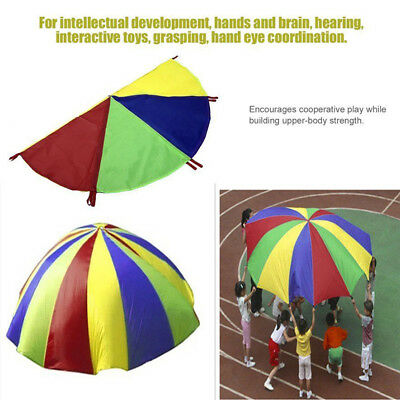 Durable Outdoor Parent-child Interactive Rainbow Parachute 8 Handles Toy GB74