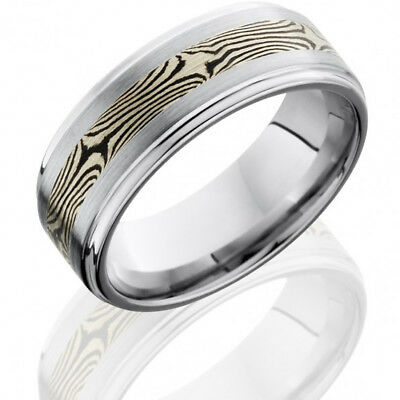 Cobalt Chrome 8mm Flat Band with Grooved Edges