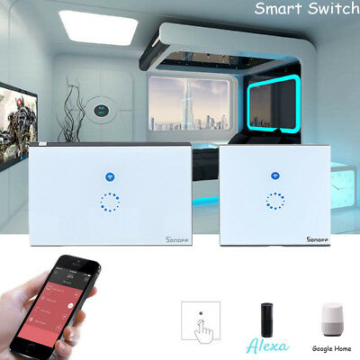 1 Gang Smart WiFi EU/US Plug Panel Touch Switch Wall Control Light Sonoff ee