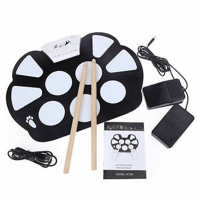 UK Portable Electronic Roll up Drum Pad Kit Silicon Foldable with Stick R58F UK