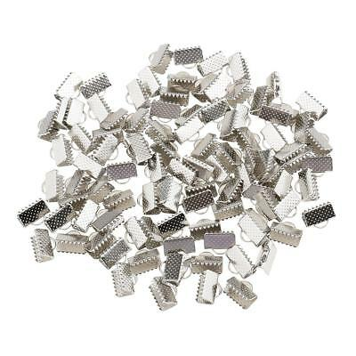 100pcs Metal Crimp End Beads Fold Over Clasps Cord End Clips 10mm White K