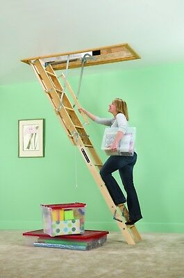 Attic Ladder Wood Stairs Ceiling Pull Down Steps Door Garage Access Storage Area