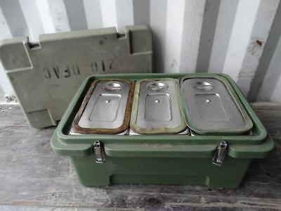 "Cambro 180MPC Camcarrier 8"" Deep Food Pan Carrier w/ 3 Drop Ins & Lids Military"
