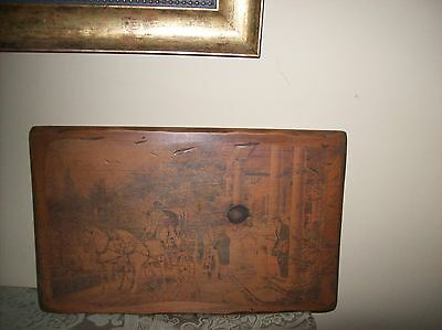 Vintage / Antique Colonial Art On Solid Wood 12 X 19 X 1