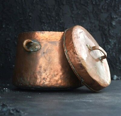 Huge Antique 19th Century Hand beaten French Copper Stewing Pot