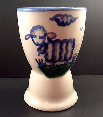 M A Hadley Pottery Egg Cup Sheep Lamb Double Blue Sand Country Farm The End