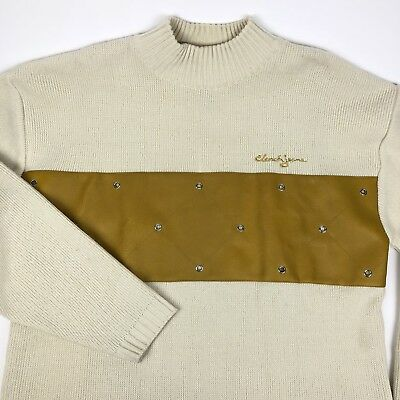 Clench Jeans Mens Cream Casual Sweater Yellow Leather Chest Rivet Xl