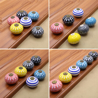 Hand-made Multi Color Ceramic Door Knobs Handpainted Kitchen Cabinet Knobs CA