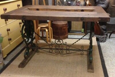 Antique 19Th Century French Wrought Iron Work Table Wooden Top
